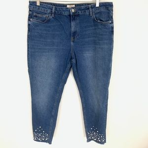 F&F High Rise Faux Pearl Embellished Jeans